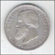 1876 - 1000 Réis, prata, soberba , Brasil-Império, Dom Pedro II.