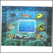 China, 1998, bloco, peixes, corais, fauna marinha.