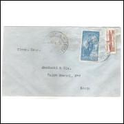 1934 - Envelope circulado, com 200 Réis (RHM C-060) mais selo 100 Réis sobretaxa pró aeroportos.