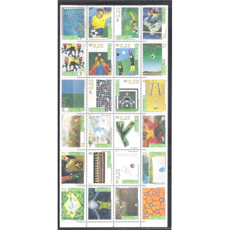 1998 - C-2113/2136 - XVI Copa do Mundo - Futebol - Arte. Folha com 24 selos.