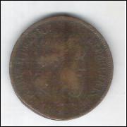 1869 - Brasil-Império, Dom Pedro II, 20 Réis SEM PONTO, bronze, mbc
