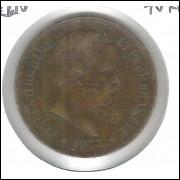 1873 - Brasil-Império, Dom Pedro II, 40 Réis, bronze, mbc