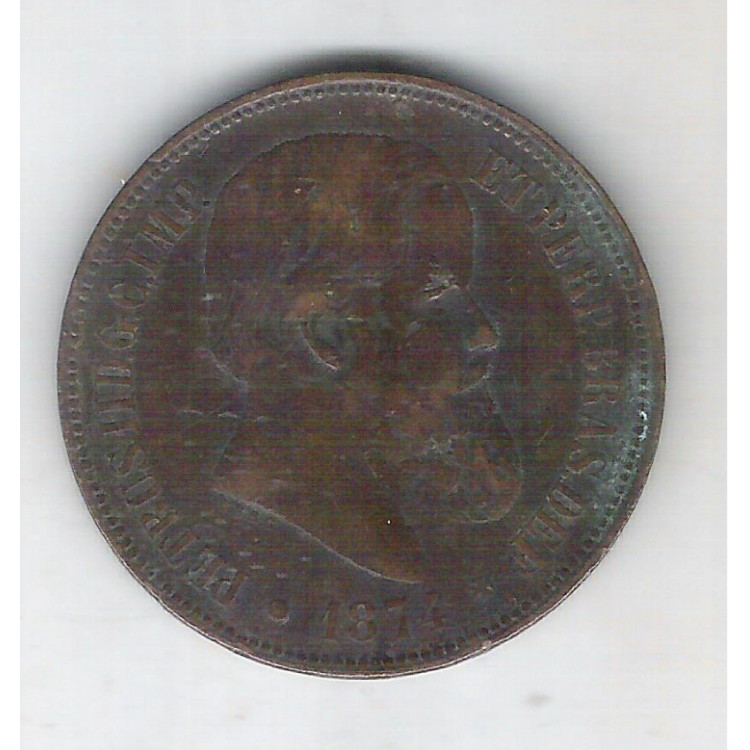 1874 - Brasil-Império, Dom Pedro II, 40 Réis, bronze, mbc