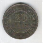 1893 - Brasil, 20 Réis, bronze, mbc