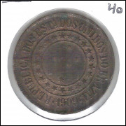 1909 - Brasil, 40 Réis, bronze, soberba.