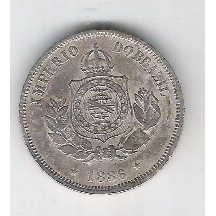 1886 - Brasil-Império, Dom Pedro II, 50 Réis, cuproníquel, mbc.